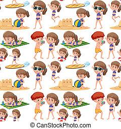 パターン, 子供, 浜, seamless