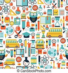 パターン, 学校, 背中, 背景, seamless