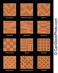パターン, 寄せ木張りの床, 黒, parquetry, 床