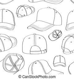 パターン, 帽子, セット, 野球