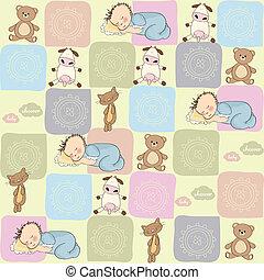 パターン, 幼稚, seamless, おもちゃ