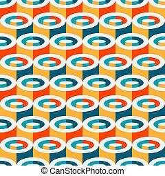 パターン, 幾何学的, seamless, 円筒状である, 多色刷り