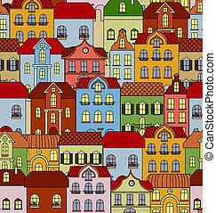 パターン, 建物, レトロ, seamless, 家