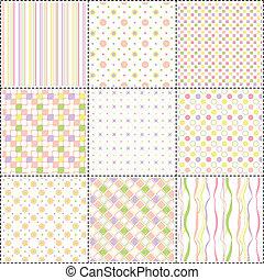 パターン, 形, セット, 花, ストライプ