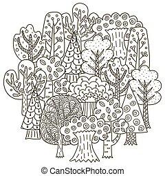 パターン, 形, 円, 木, ファンタジー, 着色 本