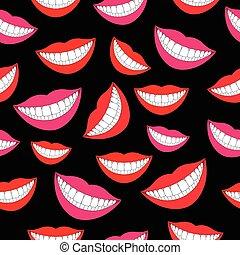 パターン, 微笑, seamless, 歯