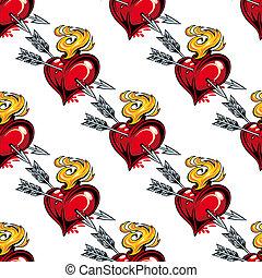 パターン, 心, 矢, seamless, バレンタイン