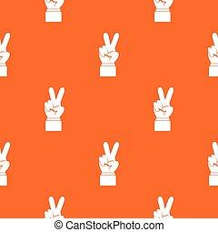 パターン, 手, 勝利, seamless, 印