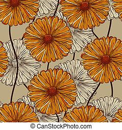パターン, 抽象的, ベクトル, 花, seamless