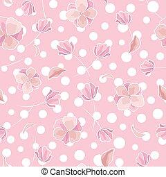 パターン, 抽象的, ポルカ, seamless, baby-pink, 色, ベクトル, 点, 背景, 花, 花, hand-drawn