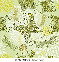 パターン, 抽象的, 蝶, seamless, ベクトル, 花, とんぼ