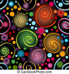 パターン, 抽象的, 黒, 鮮やか, seamless