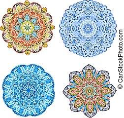 パターン, 抽象的, arabesques., 水彩画の絵, 円