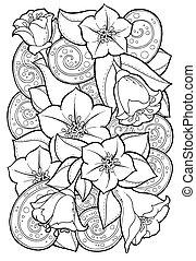 パターン, 抽象的, leaves., 手, バックグラウンド。, 花, 引かれる, 花