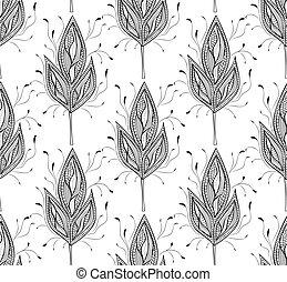 パターン, 抽象的, seamless, 葉