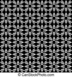 パターン, 抽象的, seamless, 黒, 花, 白