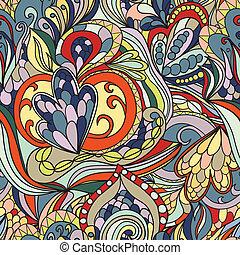 パターン, 抽象的, seamless, hand-drawn, 波