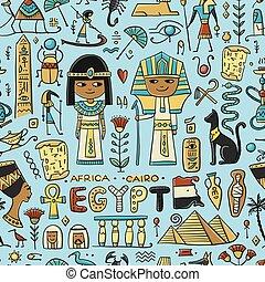 パターン, 旅行, seamless, egypt., デザイン, あなたの