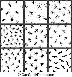 パターン, 昆虫, セット, 害虫, seamless