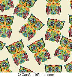 パターン, 明るい, ベクトル, seamless, フクロウ