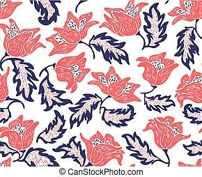 パターン, 明るい, 背景, 花, 白い花, 赤