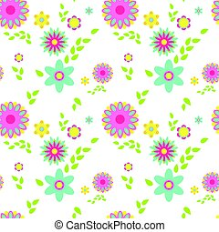 パターン, 春の花, カラフルである, seamless