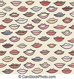 パターン, 有色人種, seamless, lips.