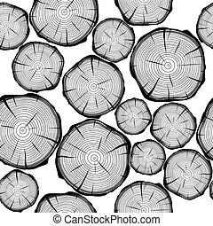 パターン, 木, 背景, seamless, ベクトル, rings.