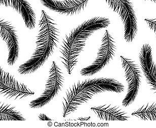 パターン, 木, seamless, イラスト, silhouette., ベクトル, やし, ブランチ