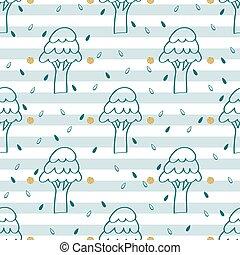 パターン, 木, seamless, 手, 背景, 引かれる