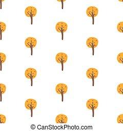 パターン, 木, seamless, 黄色, 秋, 黒い背景