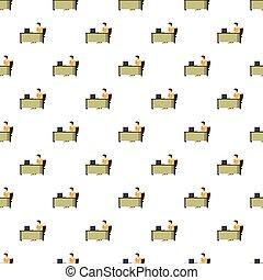 パターン, 机, コンピュータ, 人間が座る