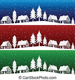パターン, 村, seamless, クリスマス, 雪