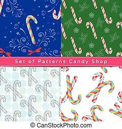パターン, 杖, seamless, キャンデー