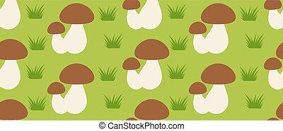 パターン, 森林, きのこ, seamless