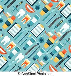パターン, 歯医者の, seamless, icons., 装置, 医学