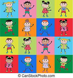 パターン, 民族, 子供, seamless