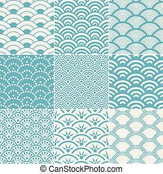 パターン, 海洋, seamless, 波