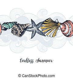 パターン, 海, seamless, 背景, 殻