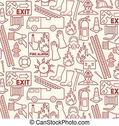 パターン, 消防士, 背景, アイコン