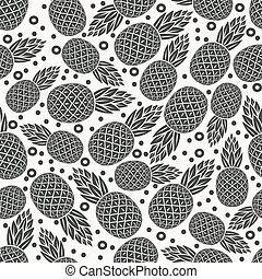 パターン, 熱帯 フルーツ, seamless, パイナップル, モノクローム