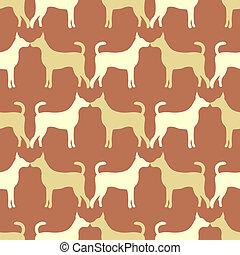 パターン, 犬, seamless, シルエット, ベクトル, 動物