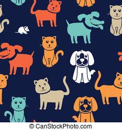 パターン, 犬, seamless, 面白い, ネコ