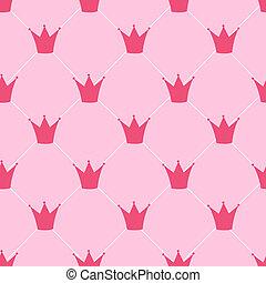 パターン, 王冠, seamless, イラスト, ベクトル, 背景, 王女
