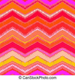 パターン, 珊瑚, ジグザグ, 手, トロピカル, 引かれる, red.