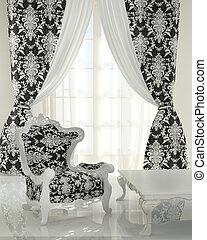パターン, 現代, 白, デザイン, 内部, 肘掛け椅子, 黒, apartment., バロック式