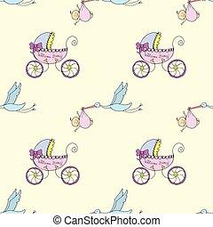 パターン, 生まれたての赤ん坊, stroller, -seamless, コウノトリ