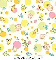 パターン, 白い花, dot., 鳥