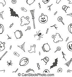 パターン, 白, ハロウィーン, seamless, 背景