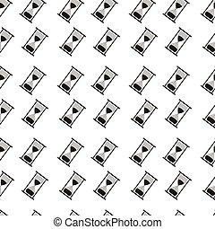 パターン, 白, 黒, seamless, 砂時計